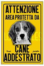BEAGLE AREA PROTETTA TARGA ATTENTI AL CANE CARTELLO PVC GIALLO