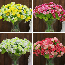 1 Bouquet Rose Fleur Artificielle Plastique Soie Mariage Bureau Maison Décor FR