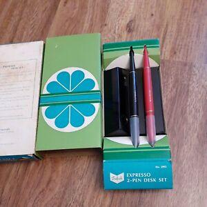 VTG Sanford Expresso Desk Set Pen Holder Index Perpetual Memo Pin Trays Black