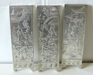 Three Chinese Silver Plated Plaques