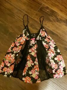 Victorias Secret Womens Med Floral w/Lace Panels Babydoll Chemise Lingere Teddy