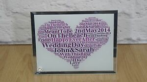 Personalised word art Wedding Day Glass Plaque Keepsake Unique Gift love