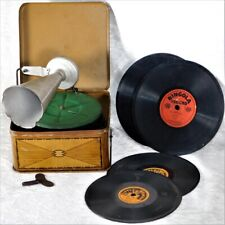 ATQ 1920s Bing Pigmyphone Tin Toy Phonograph Gramophone Germany W/ Records WORKS