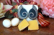 Vintage earrings, 925 marcasite/onyx, white Trifari, red Napier & yellow square