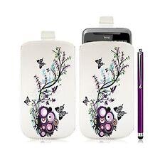 Housse coque étui pochette pour HTC Desire Z avec motif HF01 + Stylet luxe