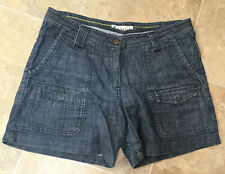Ladies Fat Face Blue Denim Cargo Style Shorts, Uk 12