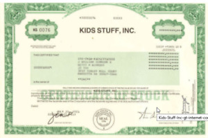 Kids Stuff, Inc. > internet company kidsstuff.com stock certificate share