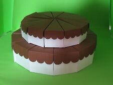"""2 Tier Scallop Top Cake Slice Centerpiece 6 1/2"""" and 8 1/2"""" - 24 Favor Boxes"""