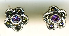"925 Sterling Silver Amethyst & Marcasite Stud Earrings   diameter 3/8""  10mm"