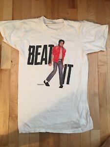 Vintage 80s Michael Jackson Beat It White T Shirt vtg tee 1984