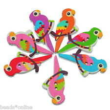 BE 50PCs Mixed Wooden Buttons Bird Pattern Fit Sewing and Scrapbook 3.5x1.7cm