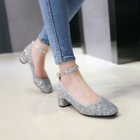 Women Glitter Ankle Strap Med Heels Round Toe Wedding Pumps Shoes UK Size 1-8