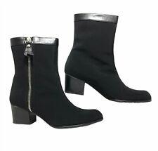 Stuart Weitzman Bootie Women's 8.5 M Black Side Zip Fabric and Leather Trim