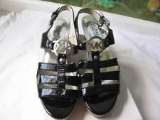 Michael Kors Black Patent Leather Wedge Sandal size 6.5M NEW