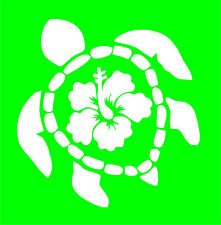 Sea Turtle with Hibiscus on back - White Vinyl Car Window Sticker Cutout