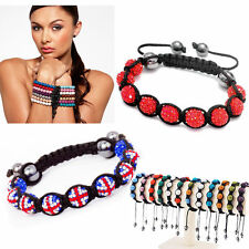 Disco Ball 9 Shamballa 10mm Dia Resin Crystal Beads Braided Adjustable Bracelet