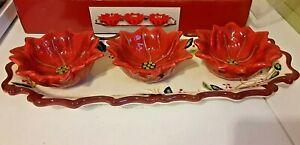 4 Pc Ceramic Condiment Set Christmas Holiday Poinsettia Tray 3 Bowls With Box