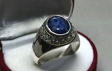 Natural Deep Blue Sapphire Mens Ring Sterling Silver 925 Handmade Neelam Ring