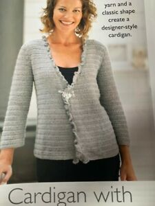Ladies Cardigan with Pin Fastening Size 81-102cm Crochet Pattern - CR103