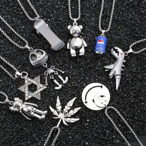 Titanium Steel Pendant Necklace Hip Hop Punk Style Fashion Long Chain Metal Men