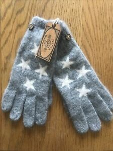 Fat Face Grey Mini Star Knitted Gloves BNWT One Size