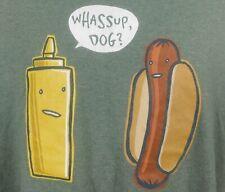 Mustard Hotdog Whassup Dog  Funny T-shirt Large Green Cotton Blend Short Sleeve