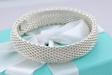 Tiffany & Co. Sterling Silver Somerset Mesh Bangle Bracelet SMALL Retails $600