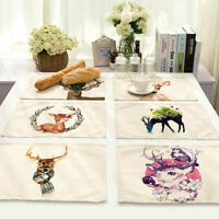 Deer Cotton Linen Insulation Placemat Dining Room Coffee Table Mat Home Kitchen