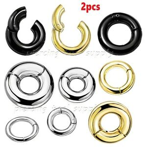 PAIR Large Gauge Hinged Segment Ring PVD Surgical Steel Earring Septum Clicker