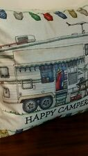 HAPPY CAMPERS  toss throw pillow cushion camping Fifth Wheel trailer home decor