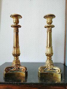 PAIRE DE FLAMBEAUX / BOUGEOIRS (32cm) XIXème bronze doré EMPIRE, RESTAURATION