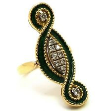Vintage 18ct Gold Green Enamel and Diamond Statement Ring Size UK O, US 7.5