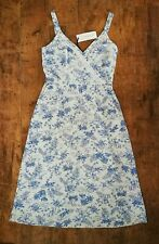 French Toile Tropical Floral Palm Leaf Linen Summer Dress size 14 Beach Holiday