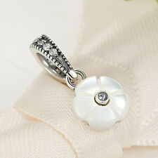 Silver White Shell Dangle .925 Sterling Clear CZ Charm Pendant for Christmas Day