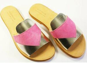 Greek Leather Sandals Women Gladiator Roman Handmade Leather Shoes FLORAL Slide
