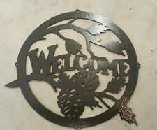Pine cone welcome sign metal wall art plasma cut