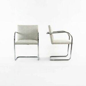 2010s Pair of Mies Van Der Rohe for Knoll Tubular Brno Chairs in Gray Fabric