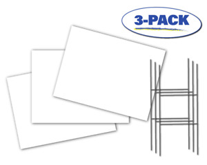"""Blank Yard Signs (3-Pack) - White - 18"""" x 24"""" - With 24"""" x 10"""" Double H Stakes"""