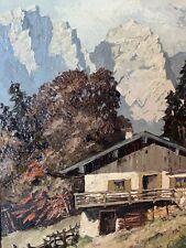 Antikes Stimmungsvolles Gemälde R.Veit 1947 Alpen Hütte Gebirge Ölgemälde Ölbild