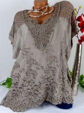 Designer Elegant Bluse Shirt Top Tunika Italy Viskose Spitze Taupe 44 46