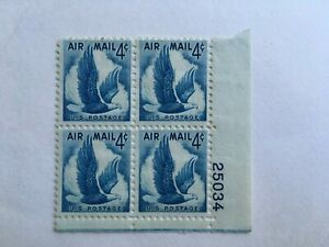 1953 Airmail Eagle In Flight 4 Cent Scott # C48 Plate Block Of 4 MNH
