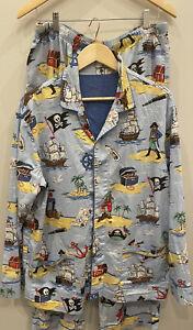Nick & Nora Flannel Men's Pirate Pajamas Set Size Large Sleepwear Blue Rare
