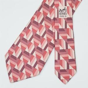 HERMES TIE 5310 TA Geometric in Pink Skinny Silk Necktie