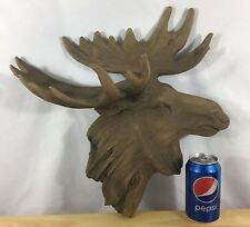 Large Resin Faux Wood Moose Head Bust - Moose Head - Log Cabin Lodge Wall Decor