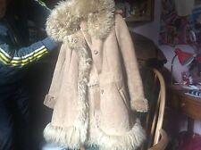 GLASTONBURY 70's AFGHAN COAT LADIES REAL SHEEPSKIN SMALL UK 6 To UK 8 FLUFFY