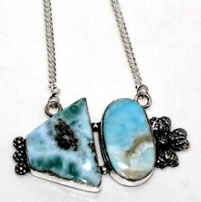 """Larimar 925 Sterling Silver Plated Necklace 16"""" GW"""