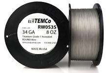 TEMCo Titanium Wire 34 Gauge 8 oz (8197 ft) Surgical Grade 1 Resistance AWG ga