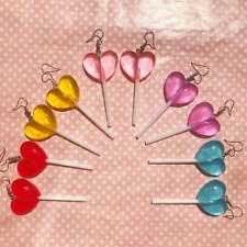 Heart shaped lollipop earrings.Unusual quirky cute funny kawaii earrings rainbow