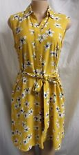 """""""ann Taylor"""" Yellow Vintage Floral Career Shift Swing Dress Size L"""