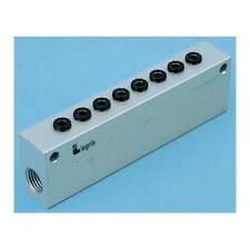 1 x Legris 3310 10 21, 2 x 1/2 in, 6 x 1/2 in out Manifold, Aluminium